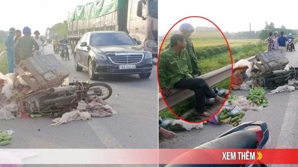 VỪA XONG: Xe máy va chạm với xe sang Mercedes S400 mang BKS Quảng Ninh, bác buôn chuối mặt cắt không ra máu