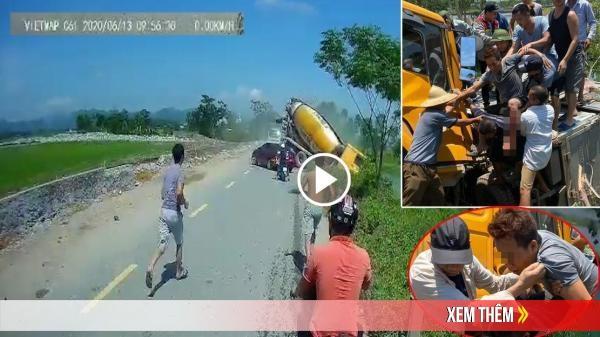 CLIP: Khoảnh khắc xe bồn húc xe tải xuống ao, tài xế mắc kẹt trong cabin gần 2 tiếng