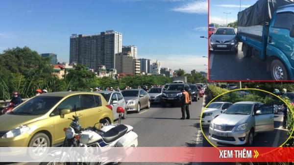VỪA XONG ở Hà Nội: Liên tiếp 2 vụ tai nạn, giao thông ùn tắc kéo dài, hàng loạt các phương tiện phải chôn chân