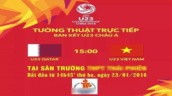 Một trường THPT cho học sinh nghỉ học xem U23 Việt Nam đá bán kết