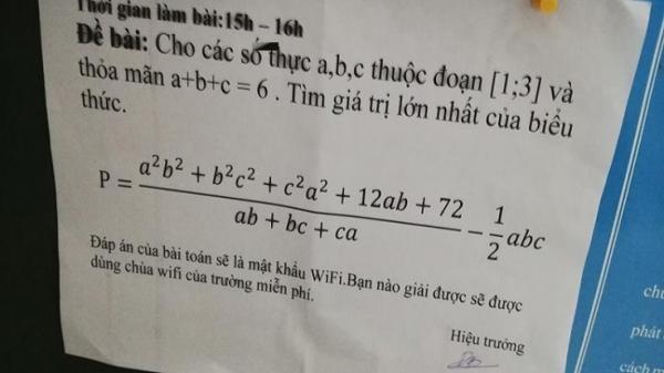 Hiệu trưởng Hưng Yên thách đố học sinh muốn xài wifi 'chùa' bằng bài toán 'khó nhằn' khiến dân mạng bội phục