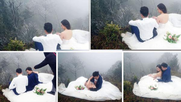Đã tìm ra cặp đôi 'dũng cảm' nhất năm: Giữa băng tuyết Sapa vẫn mặc váy hở vai và sơ mi trắng chụp ảnh cưới