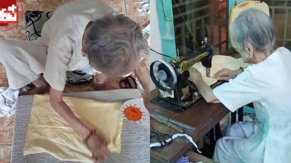 Bà Mẹ Việt Nam Anh Hùng 95 tuổi may khẩu trang hỗ trợ chống dịch