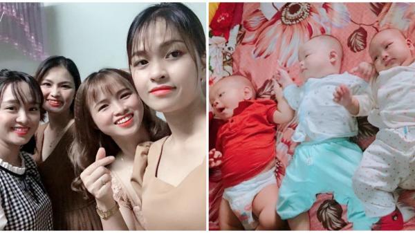 4 chị em trong nhà bất ngờ bầu bí, sinh con cùng một lúc, các bé nằm cạnh nhau nhìn chẳng khác nào sinh tư