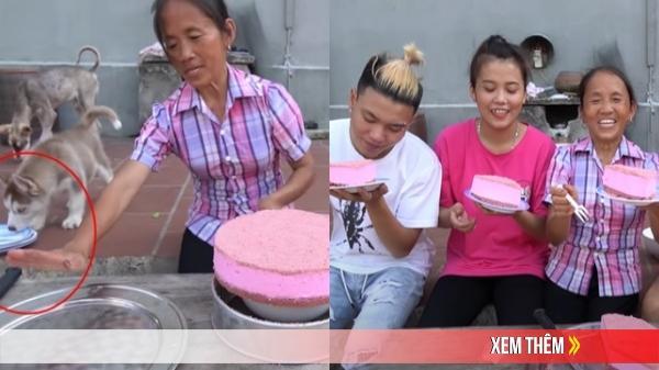 """Mải nấu ăn, Bà Tân Vlog không để ý """"chó liếm đĩa"""", sau lại đựng bánh mời các cháu ăn"""