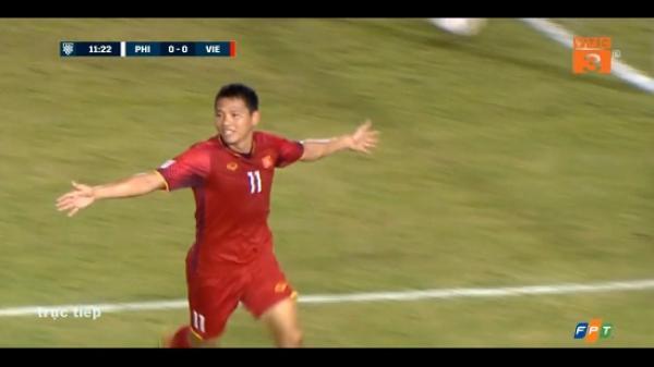 """""""Song Đức"""" ghi bàn đưa ĐT Việt Nam giành chiến thắng 2-1 trước ĐT Philippines"""