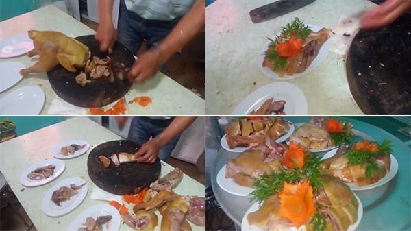 """""""Thánh chặt gà"""" khiến dân mạng kinh ngạc: Múa dao 5 phút, chia 1 con gà thành 4 đĩa thịt đầy ú"""